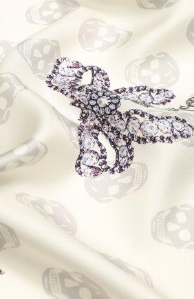 Женский шелковый платок ALEXANDER MCQUEEN кремвого цвета, арт. 610165/3001Q | Фото 2