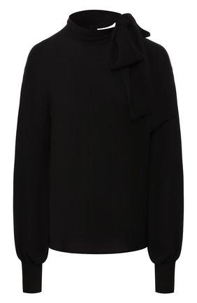 Женская шелковая блузка VALENTINO черного цвета, арт. TB3AE02T1MH   Фото 1