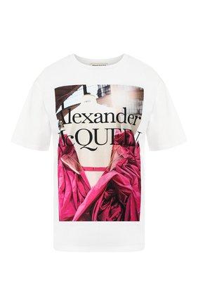 Женская хлопковая футболка ALEXANDER MCQUEEN белого цвета, арт. 610895/QZAAZ | Фото 1