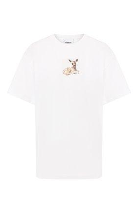 Женская хлопковая футболка BURBERRY белого цвета, арт. 8024653 | Фото 1