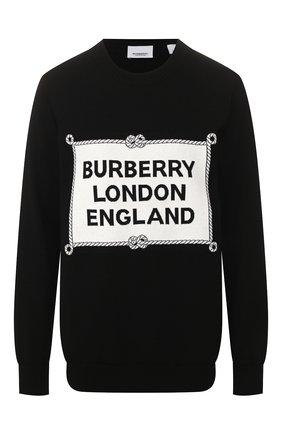 Женская шерстяной свитшот BURBERRY черного цвета, арт. 8024421 | Фото 1