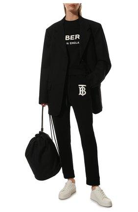 Женские хлопковые джоггеры BURBERRY черного цвета, арт. 8024354 | Фото 2