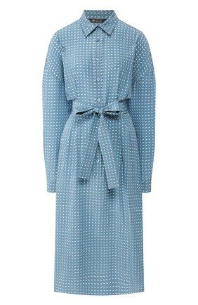Женское шелковое платье LORO PIANA голубого цвета, арт. FAL0755 | Фото 1