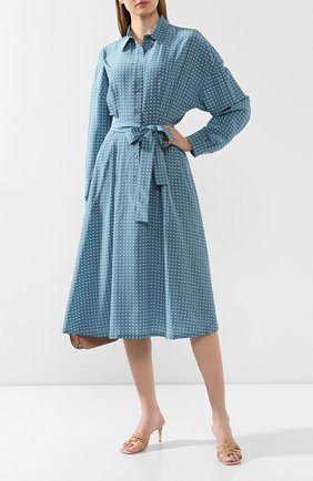 Женское шелковое платье LORO PIANA голубого цвета, арт. FAL0755 | Фото 2