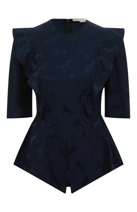 Женская блузка из смеси шелка и вискозы STELLA MCCARTNEY темно-синего цвета, арт. 599865/SNA57 | Фото 1