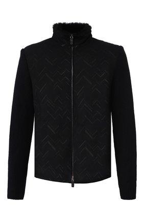 Мужская комбинированная куртка с меховой подкладкой GIORGIO ARMANI синего цвета, арт. 5SR51P/5SP51 | Фото 1