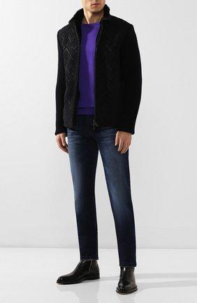 Мужская комбинированная куртка с меховой подкладкой GIORGIO ARMANI синего цвета, арт. 5SR51P/5SP51 | Фото 2