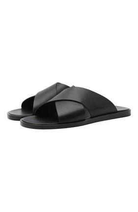 Мужские кожаные шлепанцы BALENCIAGA черного цвета, арт. 597148/WAVY0 | Фото 1