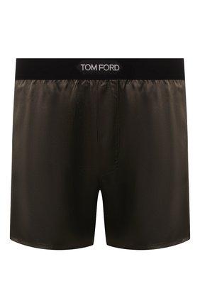 Мужские шелковые боксеры TOM FORD хаки цвета, арт. T4LE40010 | Фото 1