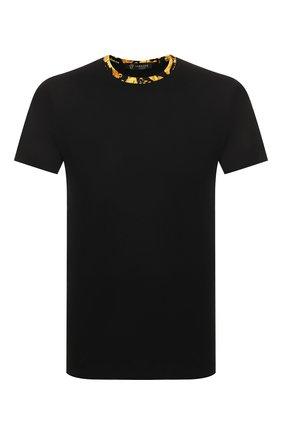 Мужские хлопковая футболка VERSACE черного цвета, арт. AGU03003/AC00331 | Фото 1