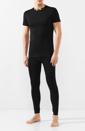 Мужские хлопковая футболка VERSACE черного цвета, арт. AGU03003/AC00331 | Фото 2