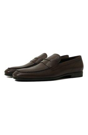 Мужские кожаные пенни-лоферы TOD'S темно-коричневого цвета, арт. XXM51B00010D90 | Фото 1