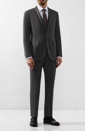 Мужской костюм-тройка из смеси шерсти и шелка ERMENEGILDO ZEGNA темно-серого цвета, арт. 716559/321225 | Фото 1