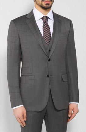 Мужской костюм-тройка из смеси шерсти и шелка ERMENEGILDO ZEGNA темно-серого цвета, арт. 716559/321225 | Фото 2