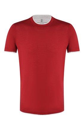 Мужская футболка из шелка и хлопка BRUNELLO CUCINELLI красного цвета, арт. MTS467427 | Фото 1 (Рукава: Короткие; Материал внешний: Хлопок, Шелк; Принт: Без принта; Длина (для топов): Стандартные; Стили: Кэжуэл)