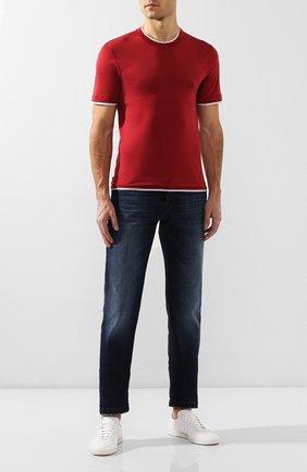 Мужская футболка из шелка и хлопка BRUNELLO CUCINELLI красного цвета, арт. MTS467427 | Фото 2 (Рукава: Короткие; Материал внешний: Хлопок, Шелк; Принт: Без принта; Длина (для топов): Стандартные; Стили: Кэжуэл)