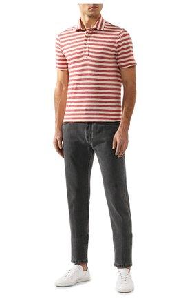 Мужское хлопковое поло BRUNELLO CUCINELLI красного цвета, арт. MTS553936 | Фото 2