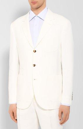 Мужской льняной костюм BRUNELLO CUCINELLI белого цвета, арт. MW431LDN6   Фото 2