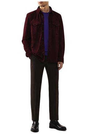 Мужская замшевая рубашка RALPH LAUREN бордового цвета, арт. 790654923 | Фото 2 (Рукава: Длинные; Длина (для топов): Стандартные; Случай: Повседневный; Воротник: Кент; Принт: Однотонные; Материал внешний: Замша; Мужское Кросс-КТ: Рубашка-одежда; Манжеты: На пуговицах)