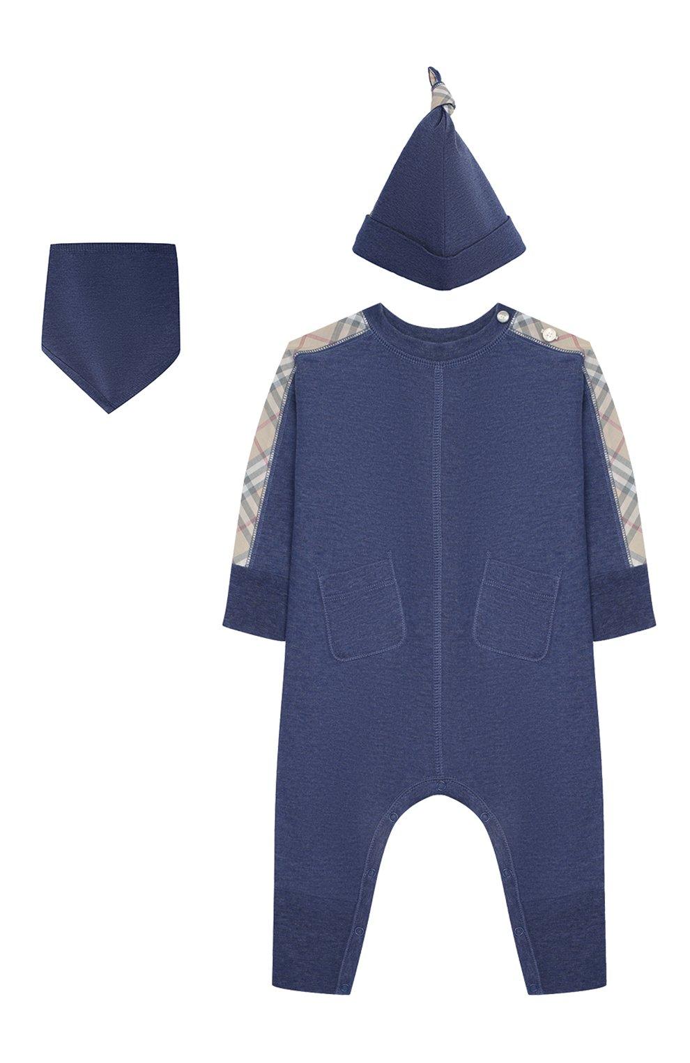 Детский комплект из 3-х предметов BURBERRY голубого цвета, арт. 8013864   Фото 1