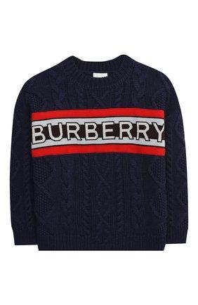 Детский шерстяной пуловер BURBERRY темно-синего цвета, арт. 8023063 | Фото 1