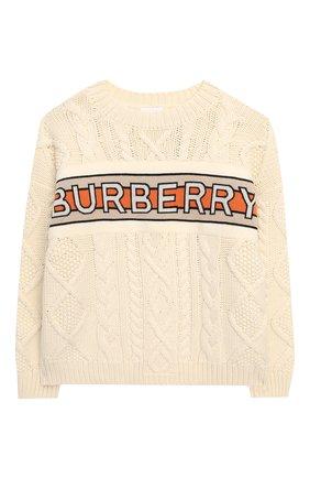 Детский шерстяной пуловер BURBERRY белого цвета, арт. 8023062 | Фото 1