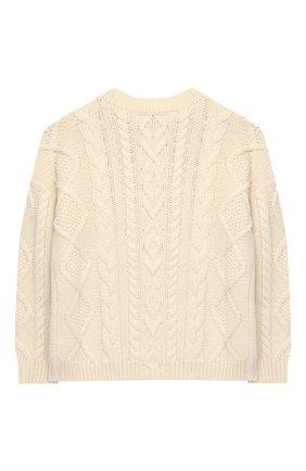 Детский шерстяной пуловер BURBERRY белого цвета, арт. 8023062 | Фото 2