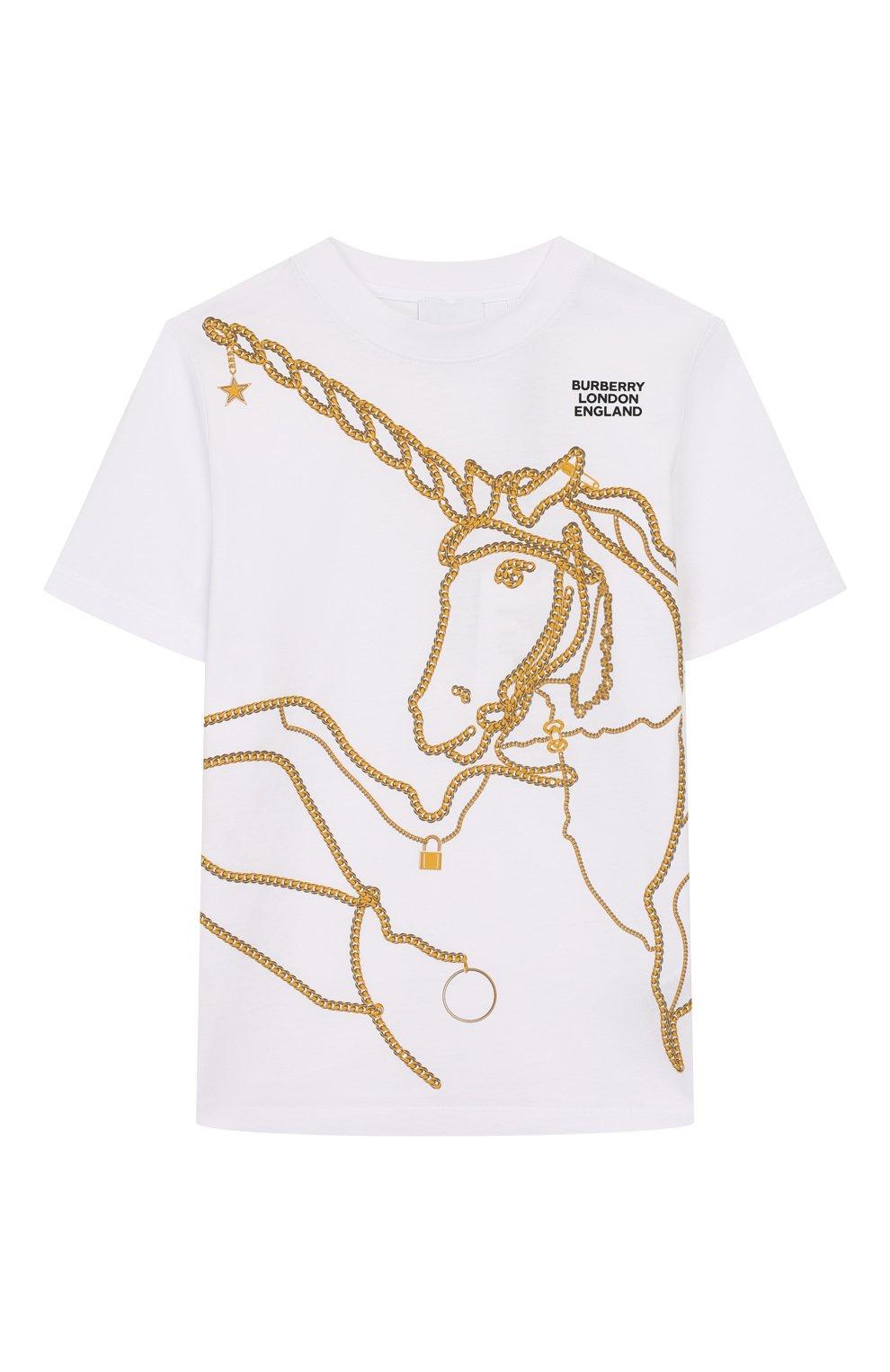 Детская хлопковая футболка BURBERRY белого цвета, арт. 8022418 | Фото 1