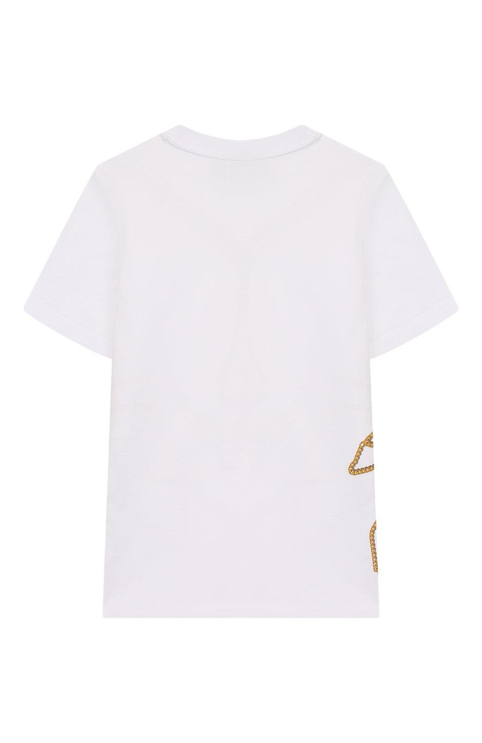Детская хлопковая футболка BURBERRY белого цвета, арт. 8022418 | Фото 2