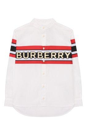Детская хлопковая рубашка BURBERRY белого цвета, арт. 8022075 | Фото 1