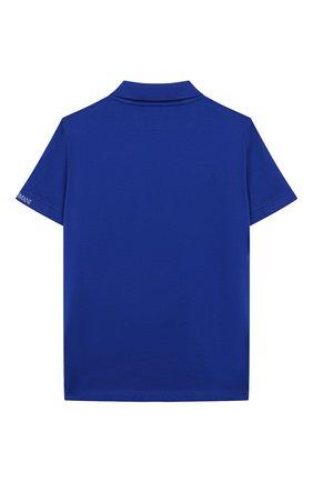 Детское хлопковое поло EMPORIO ARMANI синего цвета, арт. 3H4F61/4JFGZ | Фото 2