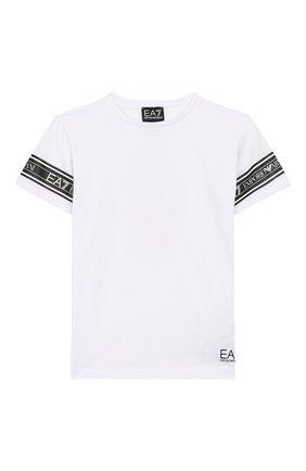 Детская хлопковая футболка EA 7 белого цвета, арт. 3HBT57/BJT3Z | Фото 1