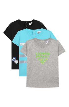 Детский комплект из трех футболок EMPORIO ARMANI разноцветного цвета, арт. 3HHD01/4J09Z | Фото 1