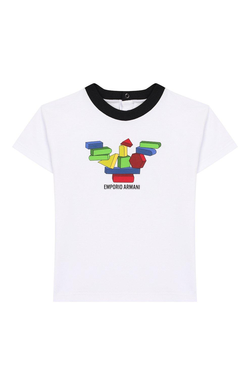Детский хлопковая футболка EMPORIO ARMANI белого цвета, арт. 3HHT01/3J2IZ | Фото 1