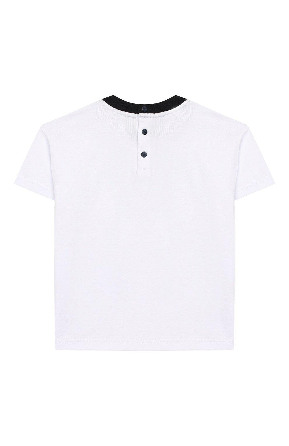 Детский хлопковая футболка EMPORIO ARMANI белого цвета, арт. 3HHT01/3J2IZ | Фото 2