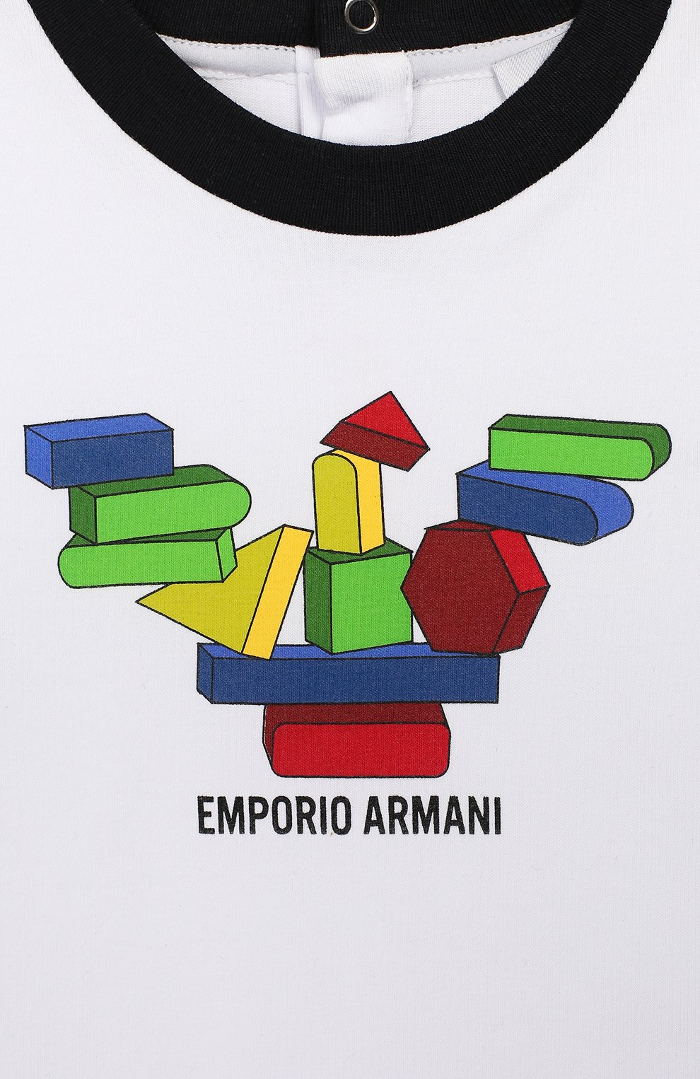 Детский хлопковая футболка EMPORIO ARMANI белого цвета, арт. 3HHT01/3J2IZ | Фото 3