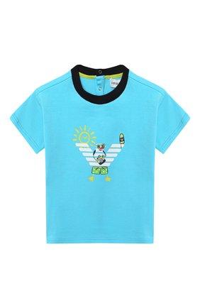 Детский хлопковая футболка EMPORIO ARMANI голубого цвета, арт. 3HHT01/3J2IZ | Фото 1