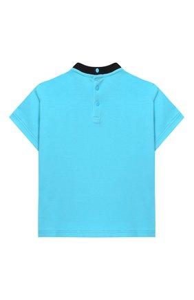 Детский хлопковая футболка EMPORIO ARMANI голубого цвета, арт. 3HHT01/3J2IZ | Фото 2