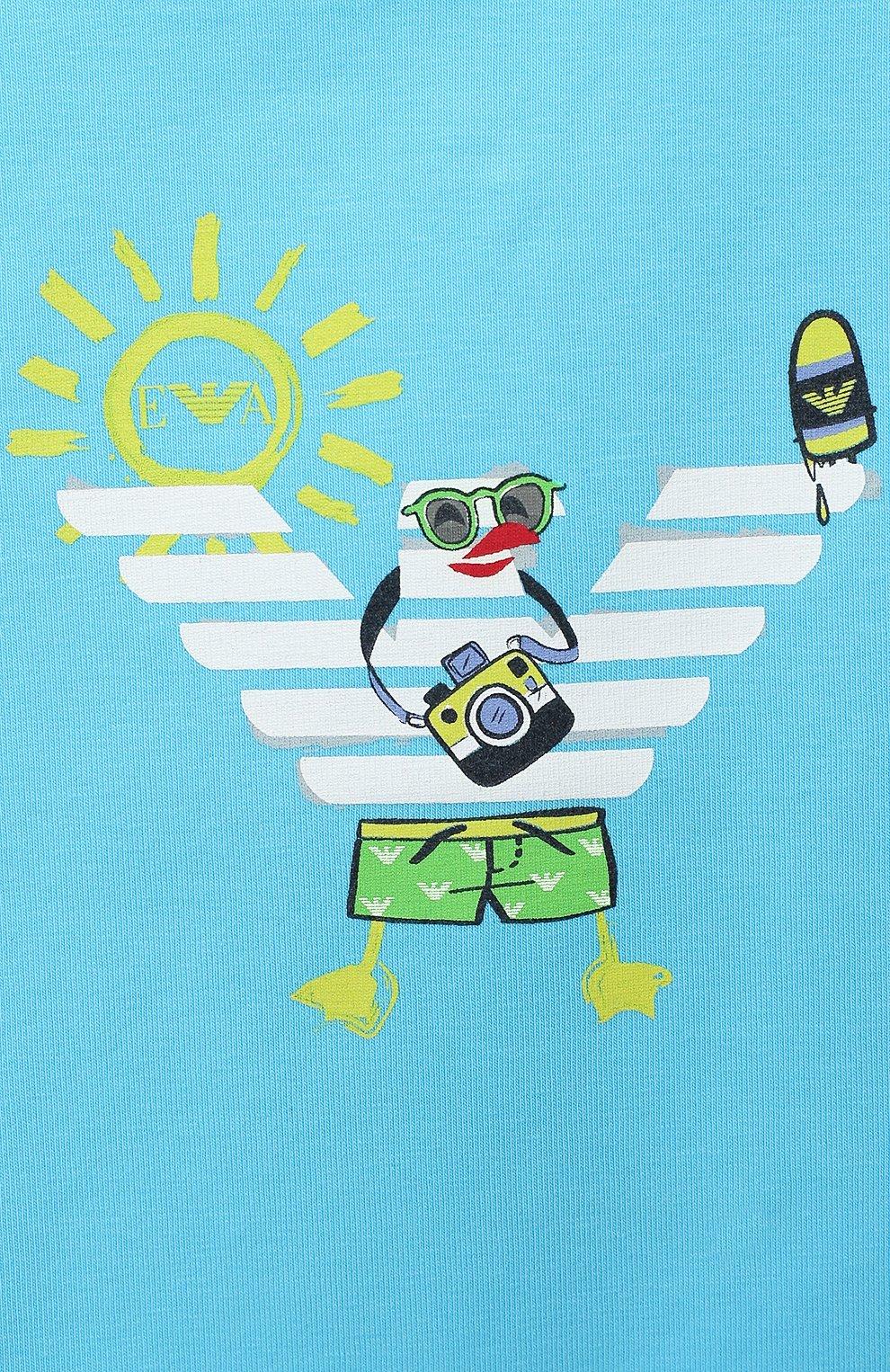 Детский хлопковая футболка EMPORIO ARMANI голубого цвета, арт. 3HHT01/3J2IZ | Фото 3