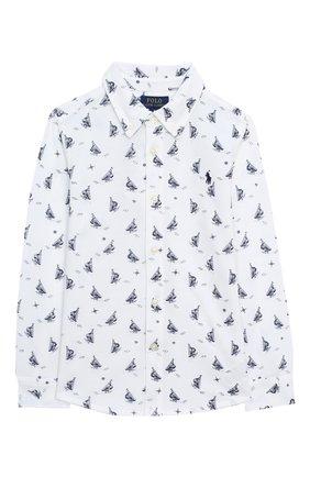 Детская хлопковая рубашка POLO RALPH LAUREN белого цвета, арт. 323760472 | Фото 1