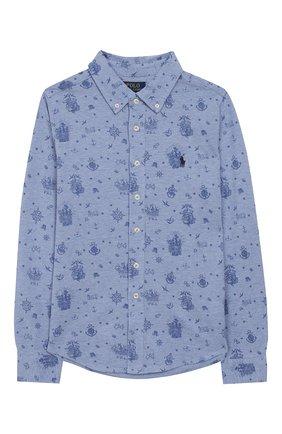 Детская хлопковая рубашка POLO RALPH LAUREN голубого цвета, арт. 321765966 | Фото 1