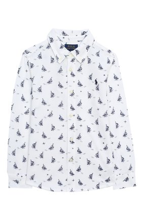 Детская хлопковая рубашка POLO RALPH LAUREN белого цвета, арт. 321760472 | Фото 1