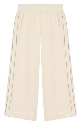Детского хлопковые брюки BRUNELLO CUCINELLI белого цвета, арт. BA848P7157 | Фото 1
