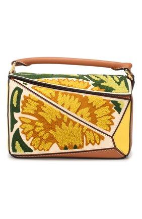 Женская сумка puzzle floral small LOEWE желтого цвета, арт. 303.30.S21   Фото 1