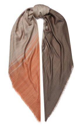 Женская шаль из смеси кашемира и шелка LORO PIANA коричневого цвета, арт. FAL0010 | Фото 1