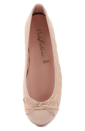 Детские кожаные балетки PRETTY BALLERINAS бежевого цвета, арт. 48.804/SHADE/C0T0N | Фото 4