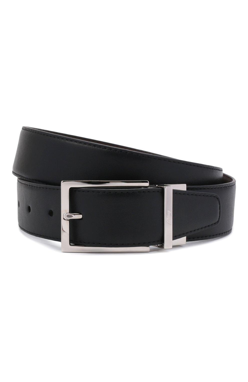Мужской кожаный ремень BRIONI черного цвета, арт. 0BAQ0L/P9721   Фото 1