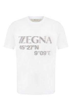 Мужская хлопковая футболка Z ZEGNA белого цвета, арт. VU372/ZZ6300   Фото 1