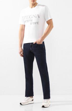 Мужская хлопковая футболка Z ZEGNA белого цвета, арт. VU372/ZZ6300   Фото 2