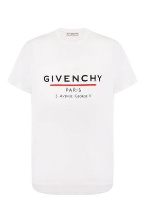 Мужская хлопковая футболка GIVENCHY белого цвета, арт. BM70U23002 | Фото 1